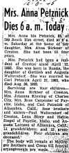 Obituary for Anna Ida Waltersdorf (Petznick) - click for larger view