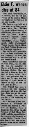 Notification of the death of Elsie McKee in the Creston News Advertiser - click for larger view
